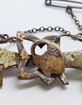 Sterling Silver & Gold Ornate Antique Floral, Lock & Key Bar Brooch