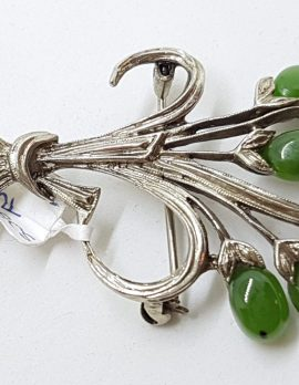 Sterling Silver Large Ornate Jade Spray Brooch