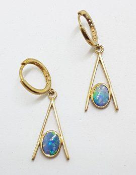 9ct Yellow Gold Opal Long Drop Earrings