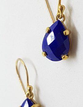 9ct Yellow Gold Teardrop Shape Lapis Lazuli Drop Earrings