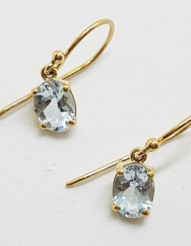 9ct Yellow Gold Aquamarine Oval Drop Earrings
