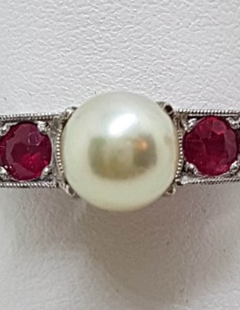 18ct White Gold & Platinum Pearl & Natural Ruby Ring