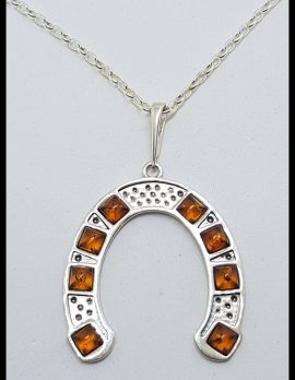 Sterling Silver and Amber Large Horseshoe Pendant on Chain