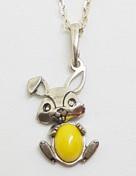 Sterling Silver Butter Amber Rabbit Pendant on Silver Chain