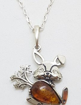 Sterling Silver Amber Rabbit with Carrot Pendant on Silver Chain