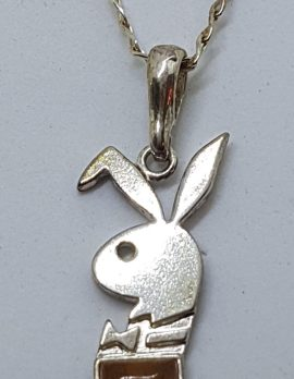 Sterling Silver Baltic Amber Playboy Bunny Pendant on Silver Chain