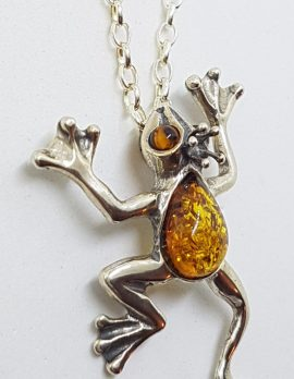 Sterling Silver Baltic Amber Leaping Frog Prince Pendant on Silver Chain
