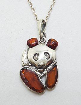 Sterling Silver Baltic Amber Panda Bear Pendant on Silver Chain