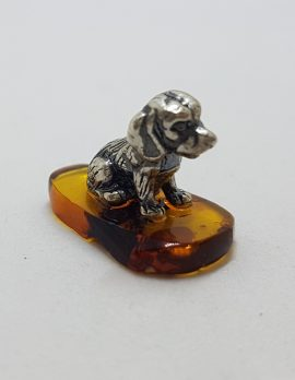 Small Sitting Dog - Sterling Silver Natural Baltic Amber Small Figurine / Statue / Sculpture