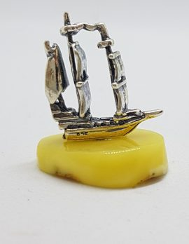 Viking Ship / Boat - Sterling Silver Natural Baltic Butter Amber Small Figurine / Statue / Sculpture