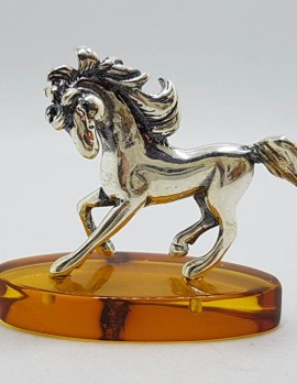 Horse with a Flowing Mane - Equestrian - Solid Sterling Silver Natural Baltic Amber Small Figurine / Statue / Sculpture
