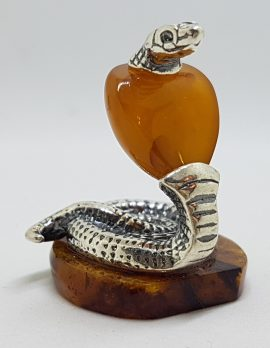 Snake / Cobra / Adder / Reptile - Solid Sterling Silver Natural Baltic Amber Small Animal Figurine / Statue / Sculpture