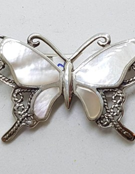 Sterling Silver Ornate Filigree Mother of Pearl Butterfly Brooch