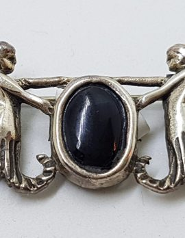 Sterling Silver Oval Onyx with Two Angels Brooch