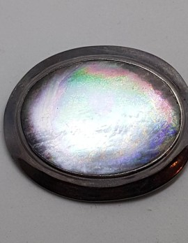 Sterling Silver Large Oval Mother of Pearl Brooch