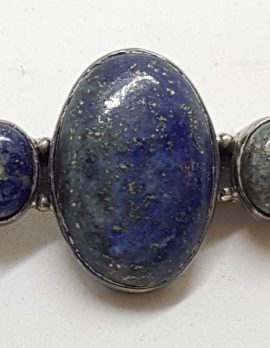 Sterling Silver Lapis Lazuli and Pearl Large & Long Bar Brooch