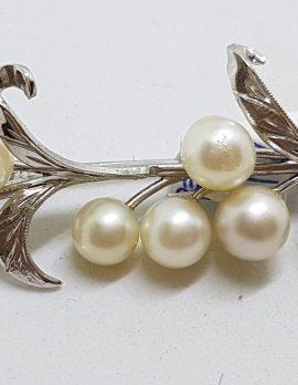 Sterling Silver Pearl Large Ornate Leaf Motif Brooch - Vintage
