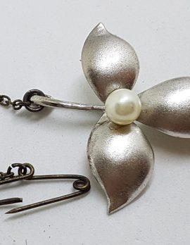 Sterling Silver Pearl Leaf Brooch - Vintage