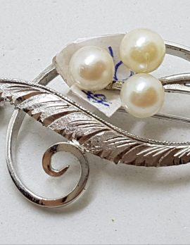 Sterling Silver Pearl Large Ornate Swirl Brooch - Vintage