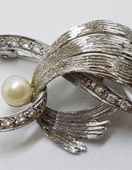 Sterling Silver Pearl Large Ornate Spray Brooch - Vintage