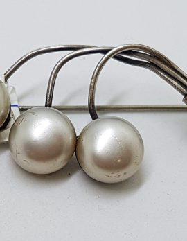 Sterling Silver Faux Pearl Brooch - Vintage