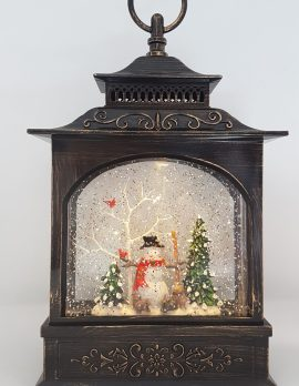 Christmas Glitter Snowglobe Lantern - Snowman & Cardinal Bird on a Tree - Ornament