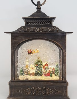 Christmas Glitter Snowglobe Lantern - Santa in a Sleigh Flying Over Houses - Ornament