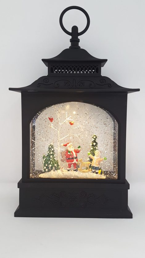 Christmas Glitter Lantern - Santa with a Child and Rocking Horse - Christmas Ornament #7