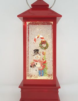 Christmas Glitter Lantern – Snowman with a Candy Cane – Christmas Ornament Design #11
