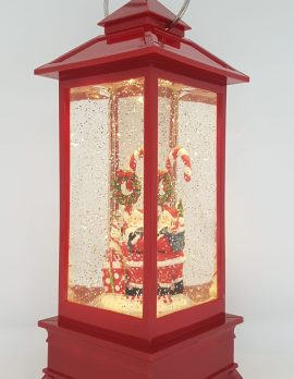 Christmas Glitter Lantern – Santa with a Candy Cane – Christmas Ornament Design #13