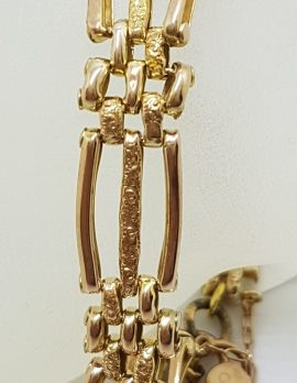 9ct Yellow Gold Three Row Gate Link Bracelet with Heart Shape Padlock Clasp