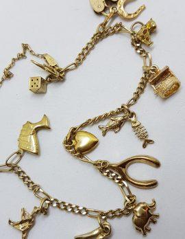9ct Yellow Gold Fine 12 Charms Bracelet - Vintage