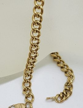 9ct Yellow Gold Curb Link with T-Bar Drop Bracelet