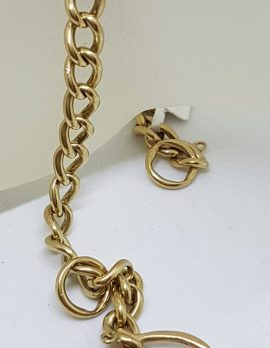 9ct Yellow Gold Curb Link Bracelet with Heart Padlock Clasp - Vintage