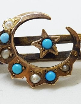 9ct Yellow Gold Turquoise and Seedpearls Ornate Star, Moon Crescent Bar Brooch – Antique / Vintage