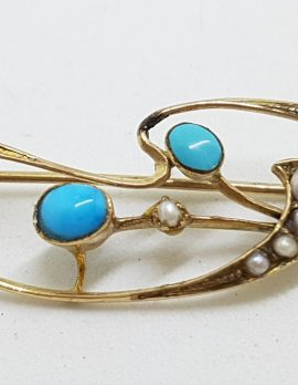 9ct Yellow Gold Turquoise and Seedpearls Ornate Brooch – Antique / Vintage