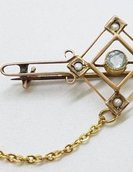 9ct Gold Aquamarine and Seedpearl Bar Brooch