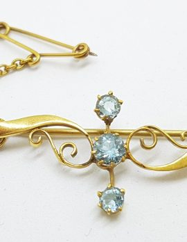 9ct Gold Aquamarine Ornate Antique Bar Brooch