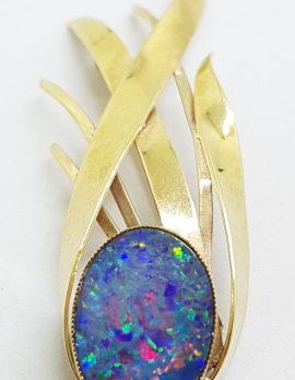 9ct Yellow Gold Blue Opal Spray Pendant / Brooch – Antique / Vintage