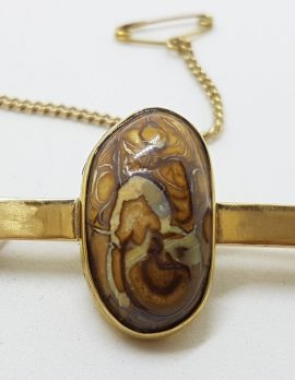 9ct Yellow Gold Oval Boulder Opal on Bar Brooch – Antique / Vintage