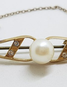 9ct Yellow Gold Pearl and Cubic Zirconia Bar Brooch – Antique / Vintage
