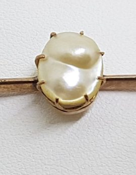 9ct Yellow Gold Unusual Shape Pearl on Bar Brooch – Antique / Vintage