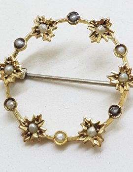 15ct Yellow Gold Seedpearl Flowers on Round Brooch – Antique / Vintage
