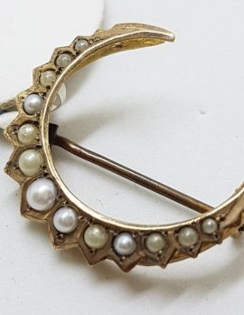15ct Yellow Gold Seedpearl Crescent Moon Brooch