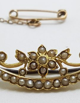 15ct Yellow Gold Seedpearl Ornate Floral and Crescent Moon Brooch - Antique / Vintage