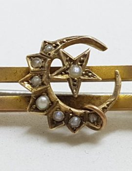 15ct Yellow Gold Seedpearl Ornate Crescent and Star Bar Brooch - Antique / Vintage