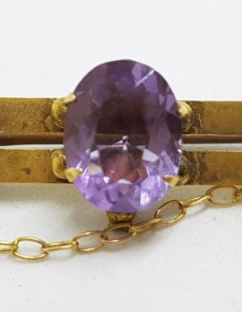 9ct Yellow Gold Oval Amethyst Bar Brooch – Antique / Vintage