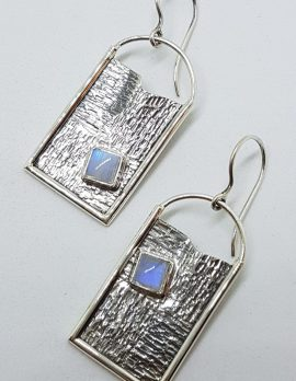 Sterling Silver Large Rectangular Moonstone Earrings - 2 Different Styles Available