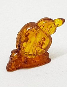 Hand Carved Natural Baltic Amber Small Snail Figurine / Statue