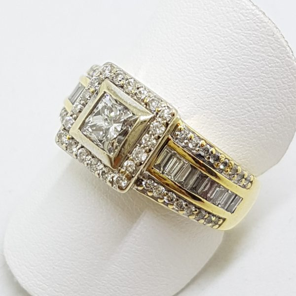 18ct Yellow Gold Wide Square Diamond Cluster Ring - Claw and Channel Set - Engagement